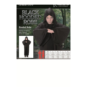 LARGE KIDS BLACK HOODED ROBE